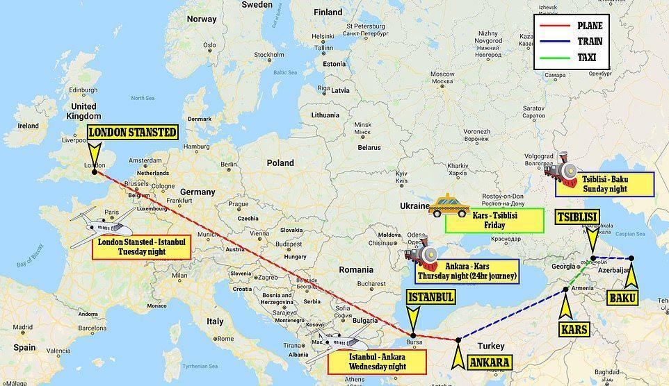 Маршрут до Баку
