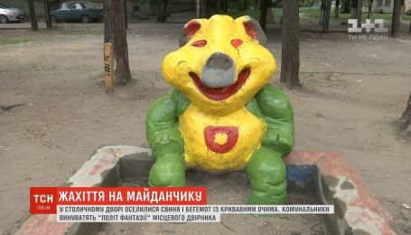 Свинья и бегемот с кровавыми глазами: коммунальщики необычно покрасили скульптуры на детских площадках
