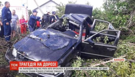 Моторошна аварія на Львівщині: легковик на швидкості влетів у дерево