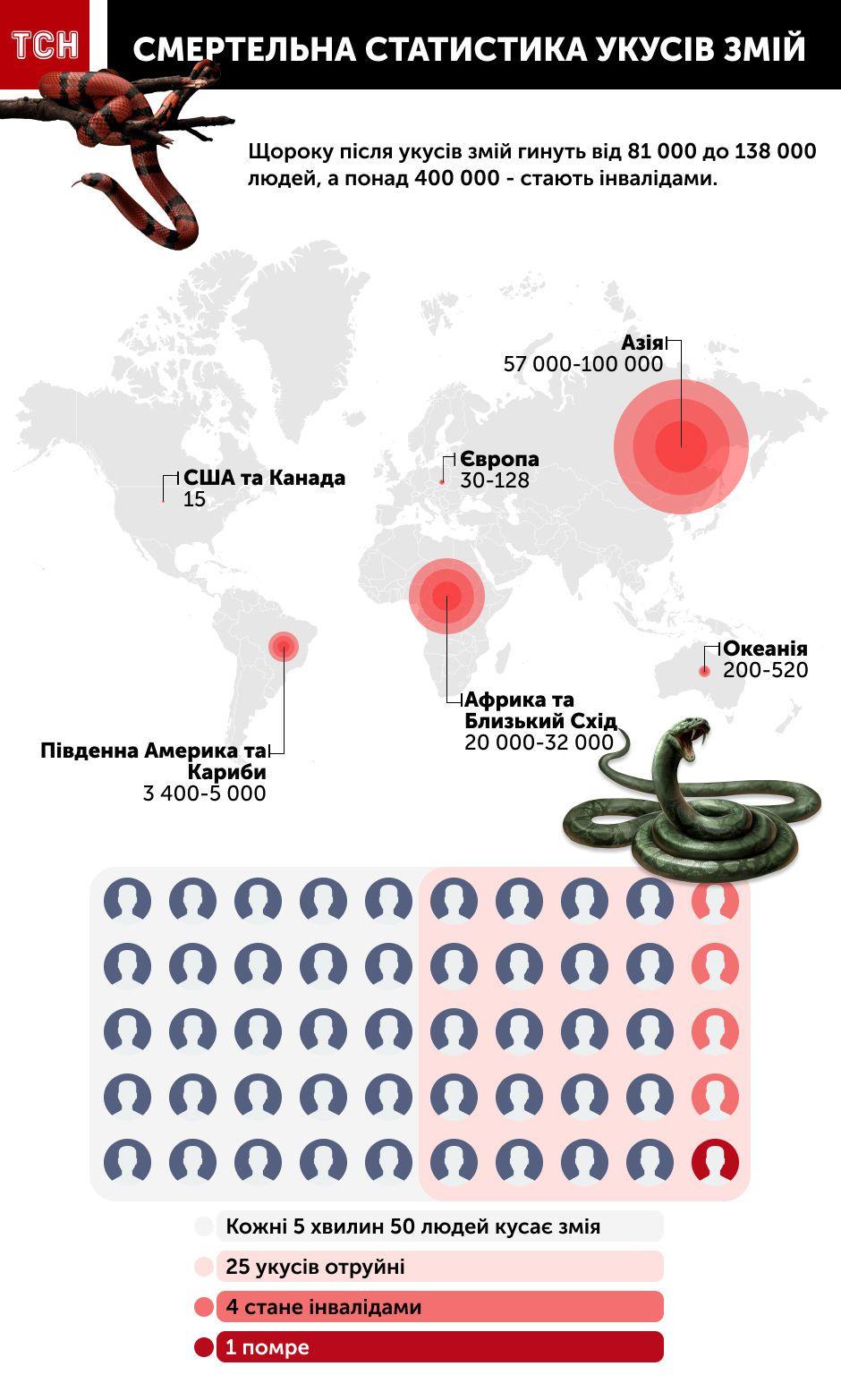 смертельна статистика укусів змій, інфографіка