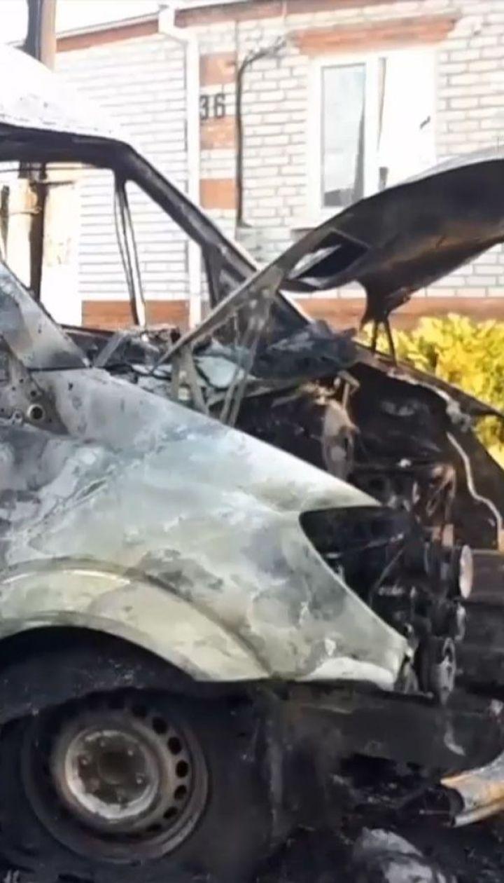 Микроавтобус взорвался в Харьковской области: пожар едва не перекинулся на соседний дом