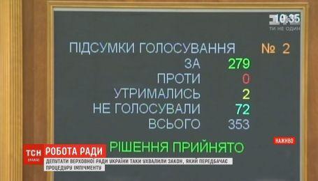 Депутаты ВР приняли закон, предусматривающий процедуру импичмента