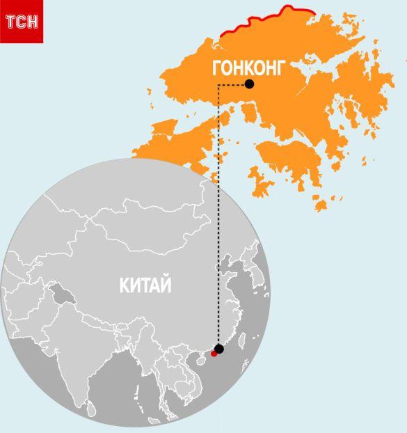 Китай, Гонконг, мапа, для блогів