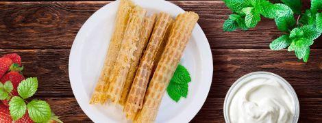 Вафельные трубочки с крем-сыром
