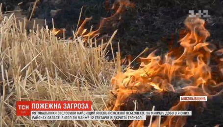 Самый высокий уровень пожарной опасности объявлен на Николаевщине