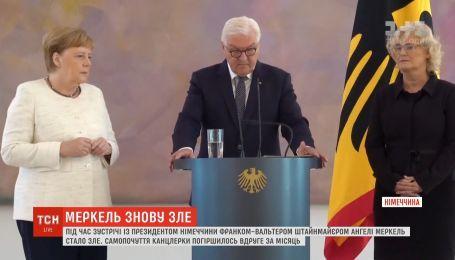 На встрече с президентом Германии Ангелу Меркель снова начало трясти