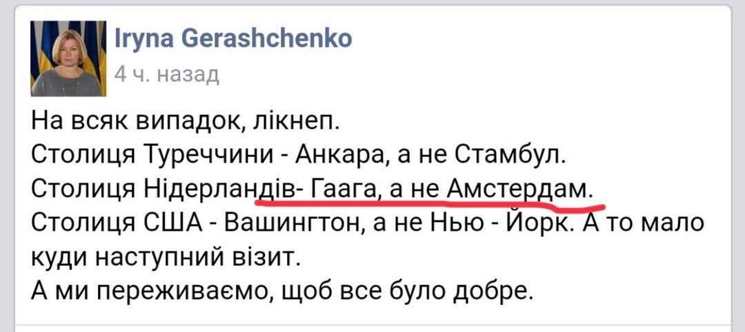 геращенко помилка Гаага