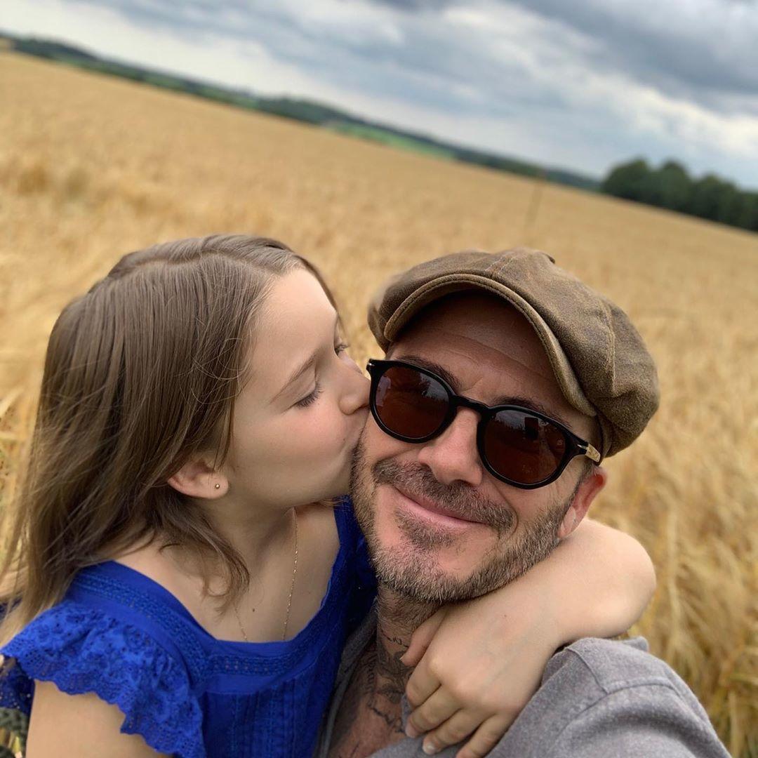 Девід Бекхем з дочкою