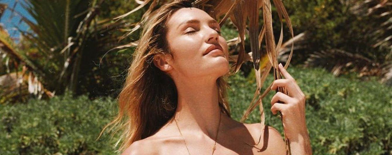 В леопардовому топі: Кендіс Свейнпоул блиснула красивою фігурою на пляжі