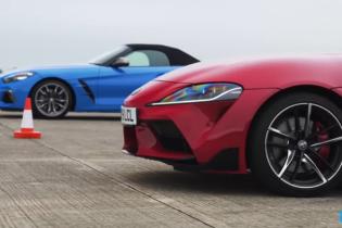 Заядлую драг-гонку Toyota Supra и BMW Z4 показали на видео