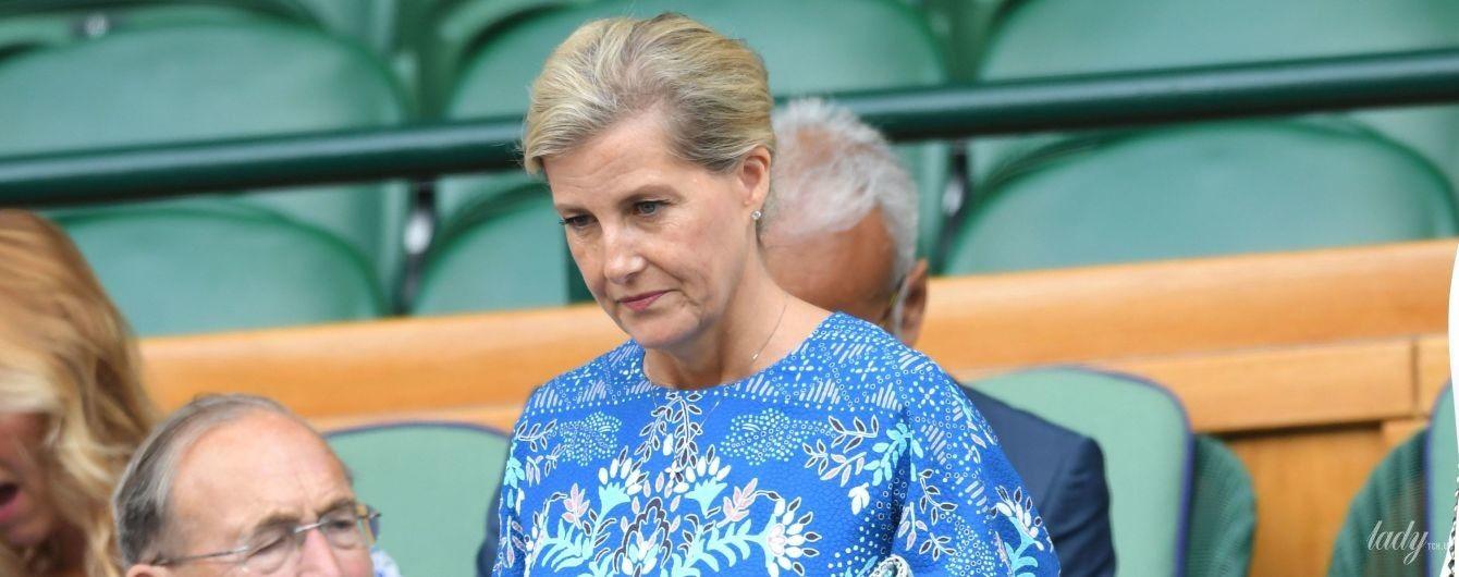 В синем платье и с легким макияжем: графиня Уэссекская Софи на Уимблдонском турнире