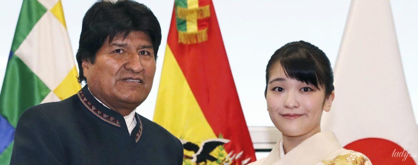 Она милая: японская принцесса Мако в нежном образе встретилась с президентом Боливии