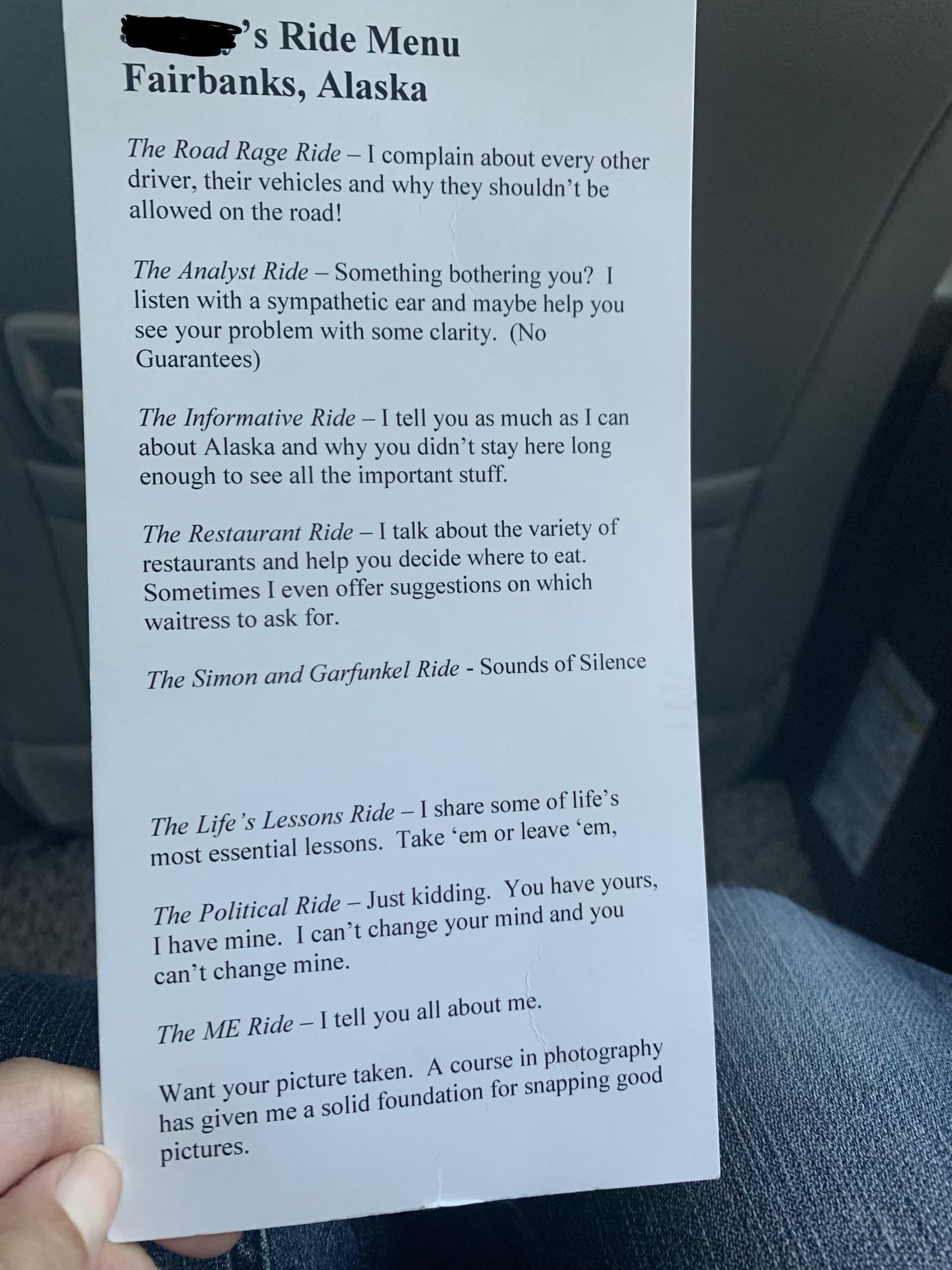 таксист меню послуги Аляска