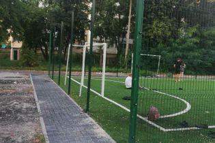 В Киеве бездомные сдали на металлолом сетку ограждения для футбольного поля