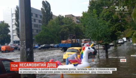 Повалені дерева та затоплені тунелі: столиця пережила кілька годин потужної зливи