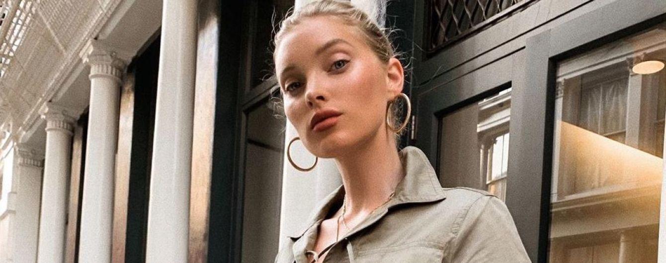 """В мини со шнуровкой цвета хаки: """"ангел"""" Эльза Хоск в сексуальном образе прогулялась по городу"""