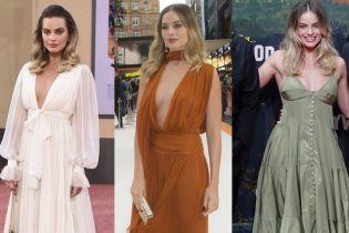 """Белое, терракотовое и оливковое: битва платьев Марго Робби на премьерах """"Однажды в Голливуде"""""""