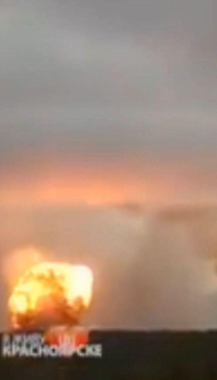 Майже добу гасили пожежу на складі боєприпасів у Красноярському краї Росії