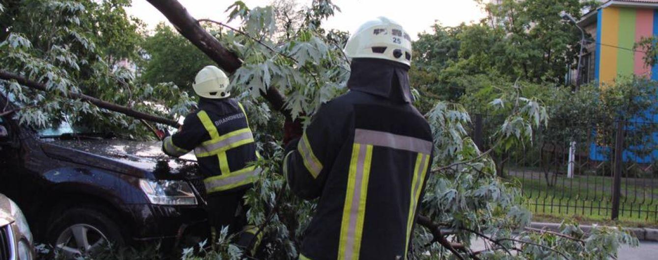 Пятничная непогода в Киеве: деревья падали на дороги, машины и трамвайные пути