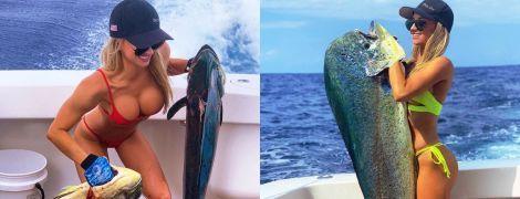 Пишні груди та величезні рибини. Чим хизується гаряча рибалка в Instagram