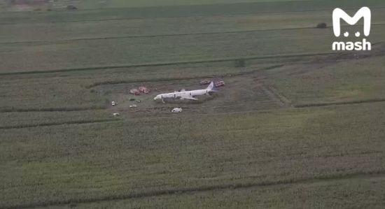 """У соцмережах виклали зняте дроном відео з місця аварії літака """"Москва - Сімферополь"""", що зіткнувся з птахами"""