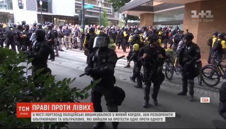 В США правоохранители разнимали на протестах крайне правых от радикальных левых