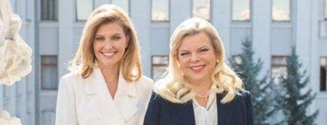 В белом платье за 12 тысяч гривен: Елена Зеленская в стильном луке встретилась с женой премьер-министра Израиля