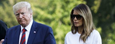 В изумрудной юбке и стильных лодочках: эффектный аутфит Мелании Трамп