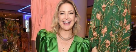 В декрете не сидит: Кейт Хадсон в блестящем зеленом платье на презентации в Лондоне
