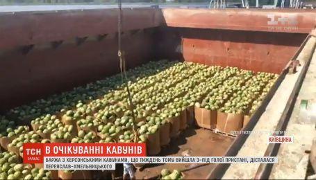 Баржа с херсонскими арбузами добралась в Киевскую область