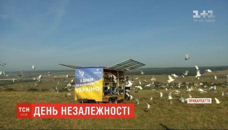 1200 голубів одночасно випустили в небо на Прикарпатті