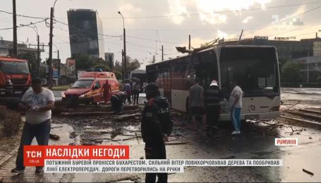 Поломанные деревья и затопленные улицы: Бухарестом пронесся мощный ураган