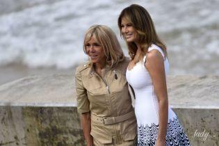 Первые леди на саммите G7: Мелания в белом платье макси, Брижит - в бежевом мини