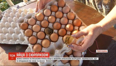 В Ровно женщина приобрела яйца с живыми червями внутри