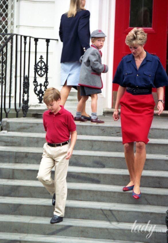 Принцесса Диана с сыновьями Уильямом и Гарри в школе_1
