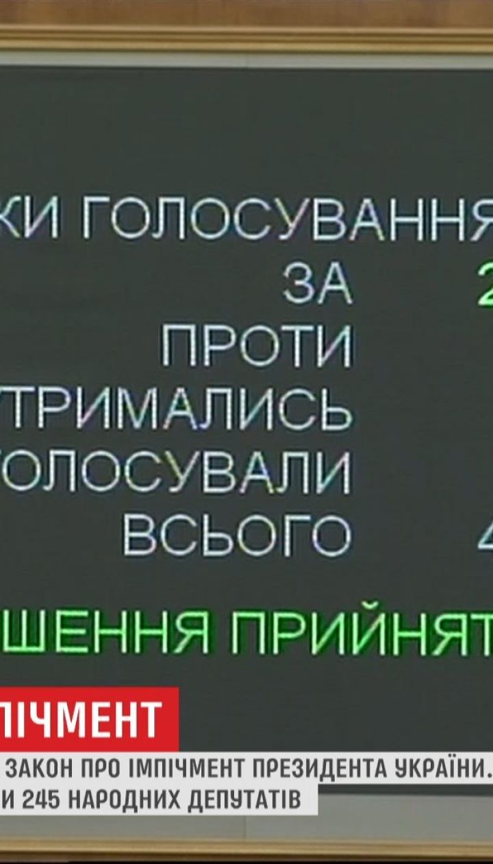 Верховная Рада приняла законопроект об импичменте президента