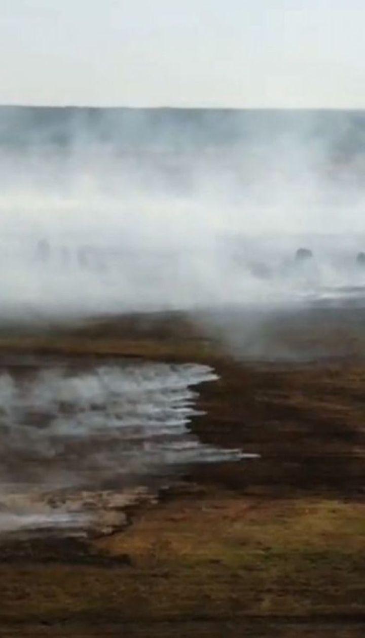 Три дні поспіль рятувальники не можуть здолати пожежу на торфовищах Рівненщини