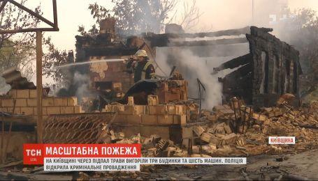 Три дома и шесть машин сгорели из-за возгорания травы на Киевщине