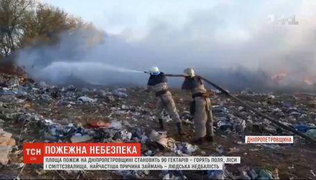 На Днепропетровщине горит 90 гектаров полей, лесов и свалок