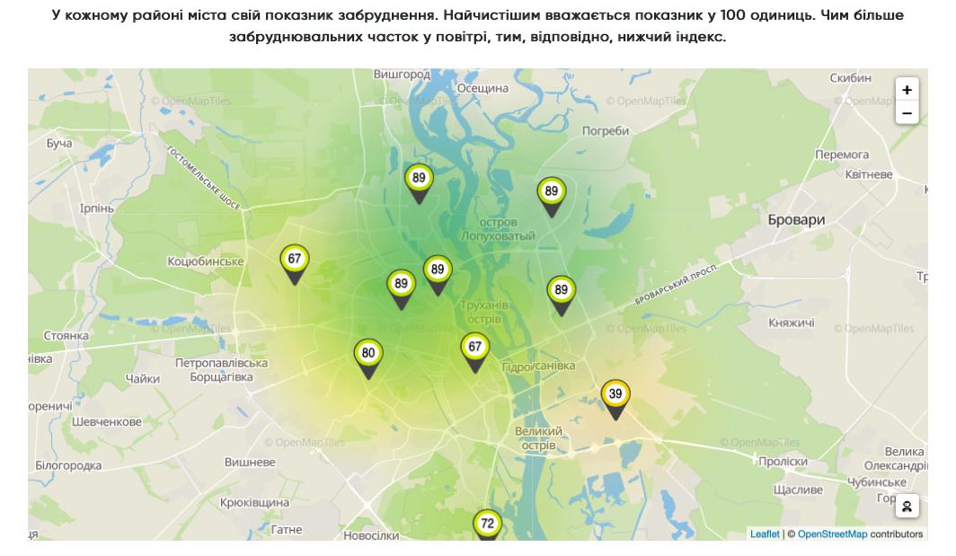 Мапа заьруднення повітря, Київ