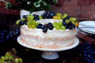 Виноградный торт с винным кремом