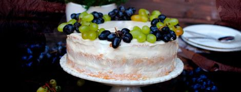 Виноградний торт з винним кремом