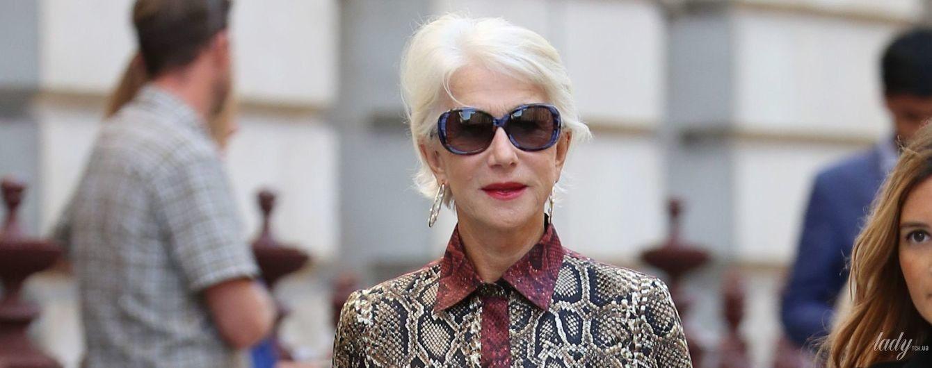 В питоновом платье и очках: 74-летняя Хелен Миррен на Неделе моды в Лондоне