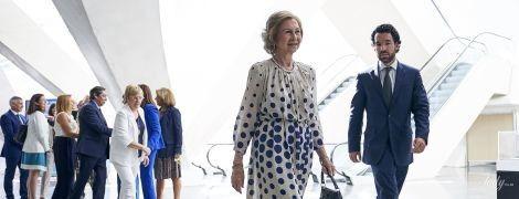 Какой игривый образ: 80-летняя королева София продемонстрировала лук в платье с принтом polka dot