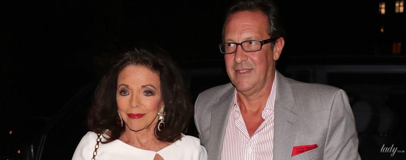 У білій сукні і за ручку з чоловіком: 86-річна Джоан Коллінз на вечірці в Лондоні