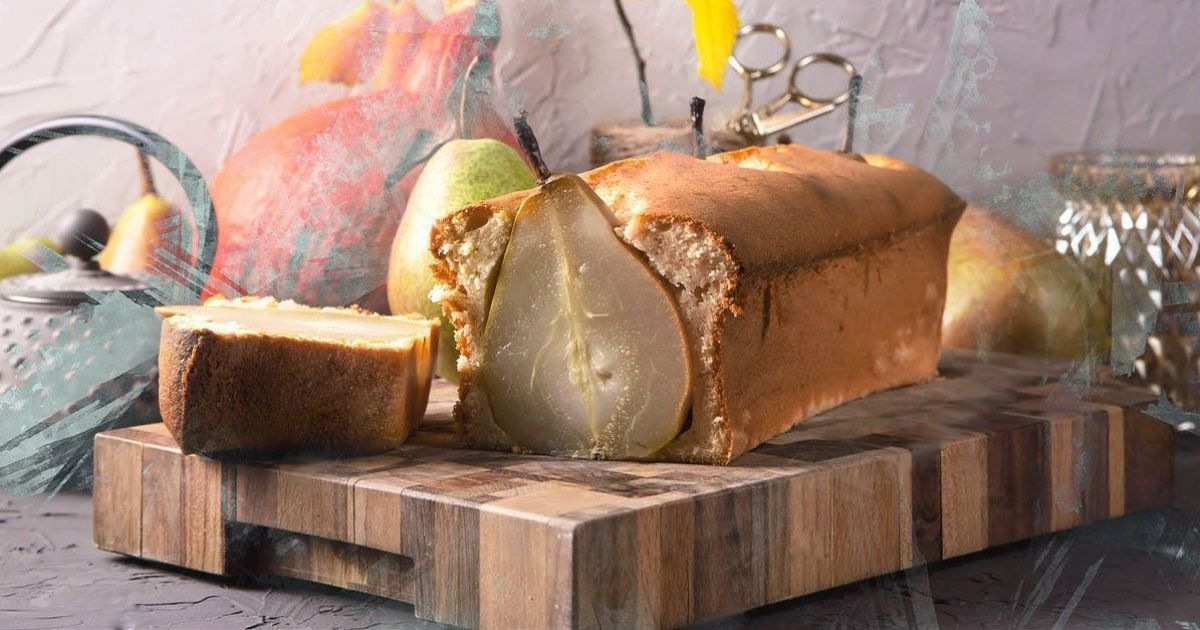 Творожный кекс с карамелизированной грушей