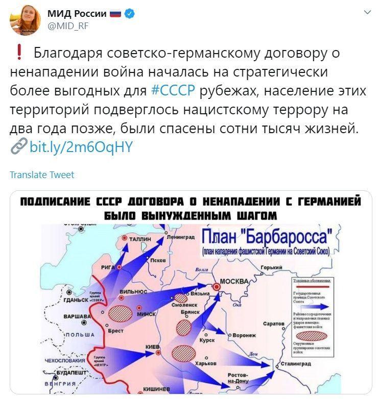 МЗС Росії про пакт Молотова-Ріббентропа