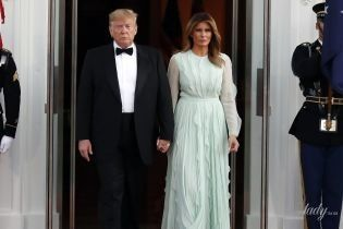 Она прекрасна: Мелания Трамп в платье цвета нежной мяты на ужине в Белом доме