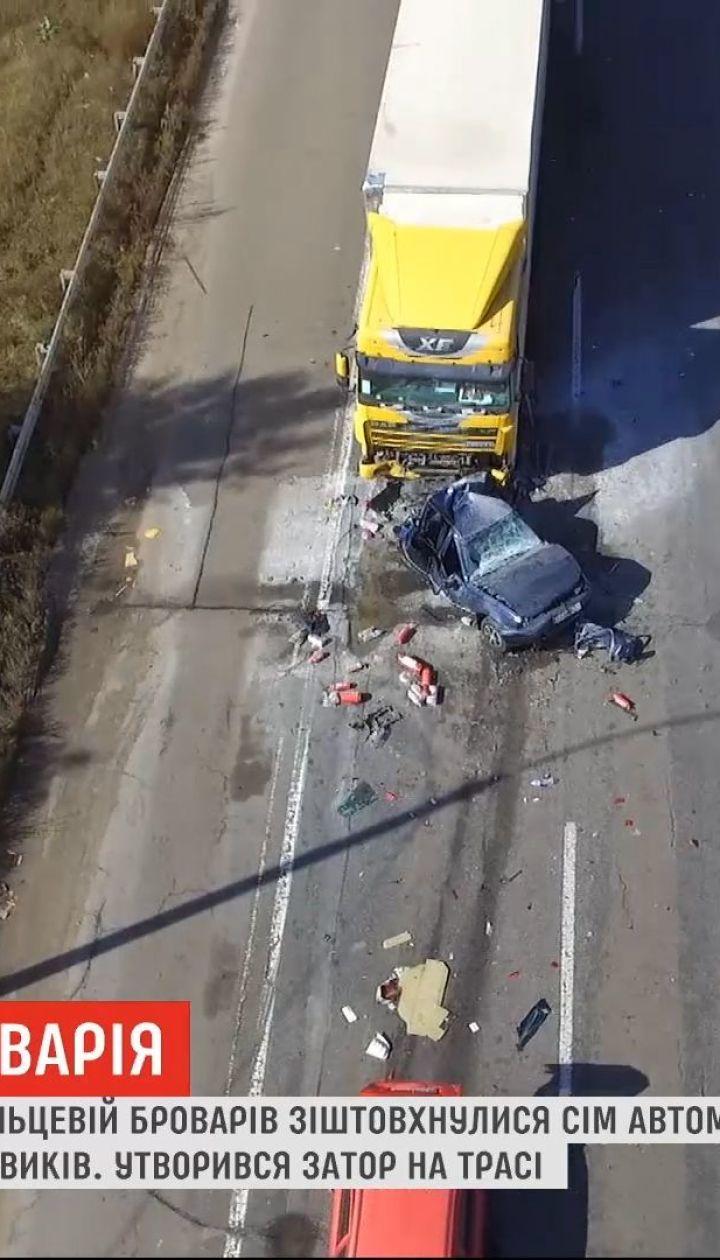 На кольцевой дороге Броваров из-за плохой видимости столкнулись семь автомобилей