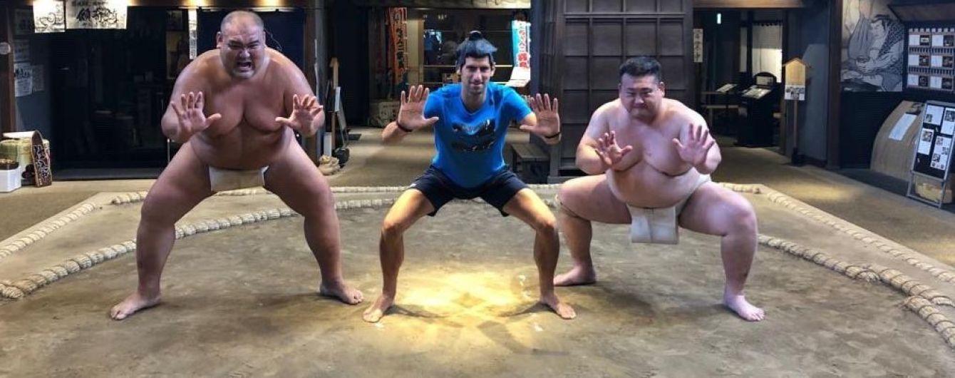 """Джокович перед стартом турнира в Японии """"подрался"""" с двумя сумоистами"""